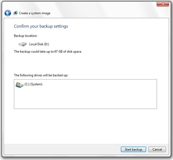 Backup in windows 7