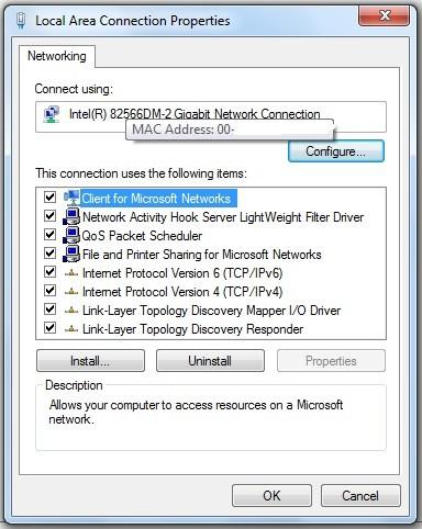 Cum aflu adresa MAC a calculatorului (placii de retea)