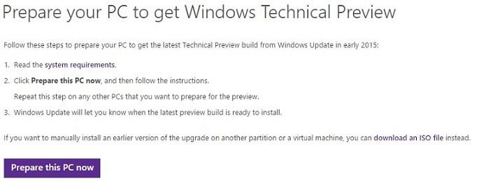 Cum instalez Windows 10 Technical Preview prin Centru de Actualizari Widows