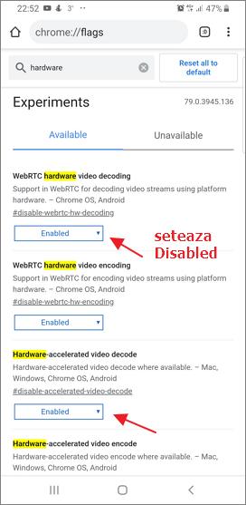 Dezactiveaza decodarea video hardware in browser Android