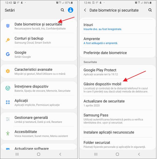 Activeaza functia pentru cautarea telefonului Samsung