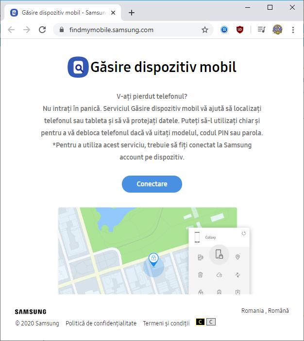 Pagina de cautare telefonului Samsung
