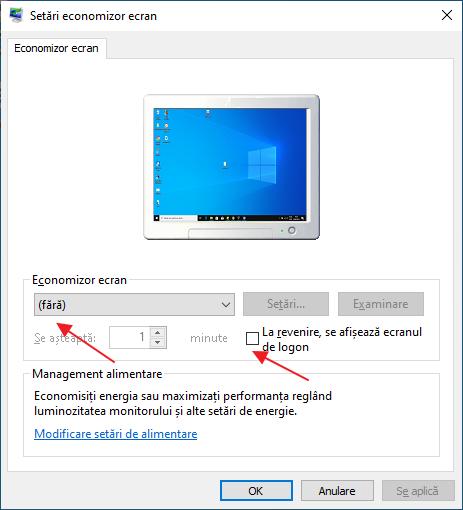 Dezactiveaza parola dupa economizator ecran Windows 10