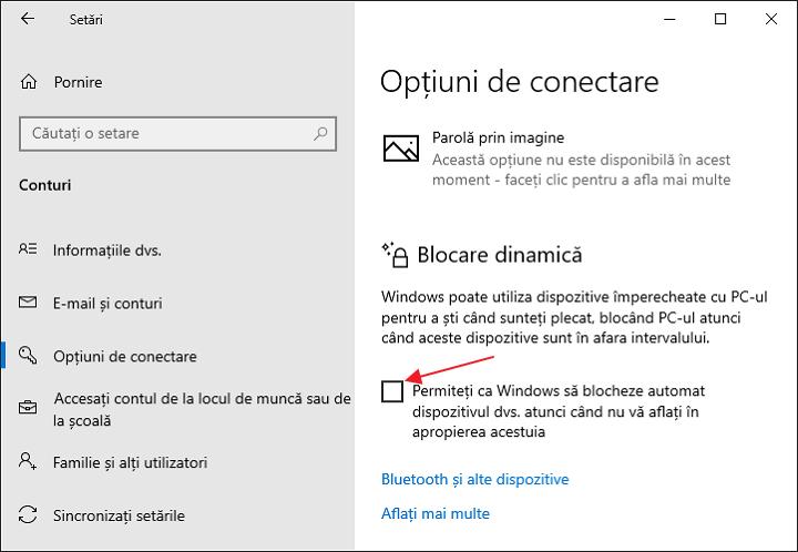 Blocare dinamica in Windows 10