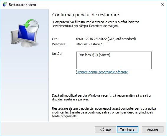 Crearea unui punct de restaurare Windows 10
