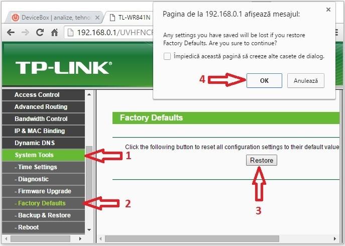Cum se reseteaza un router Tp-Link? Revenire la setarile din fabrica