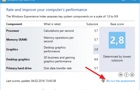 Evaluarea performantei in Windows 10