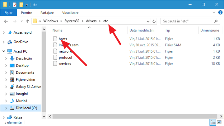 Fisierul hosts in Windows 10