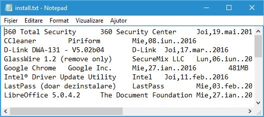 Cum obtin o lista cu programele instalate in calculator