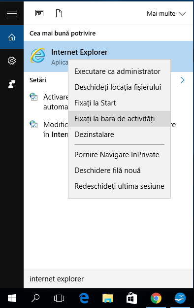 Internet Explorer pentru Windows 10