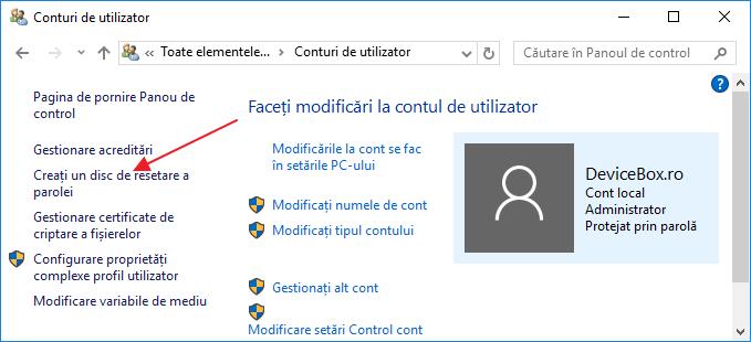 Stick USB pentru resetarea parolei Windows