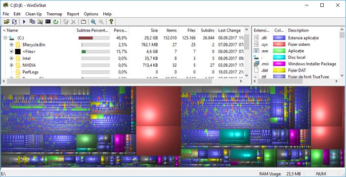 Cum pot afla cu ce este ocupat spatiul de pe hard disk
