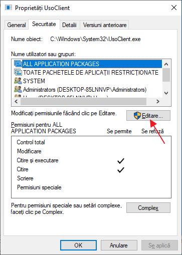 Schimba permisiunile pentru usoclient.exe