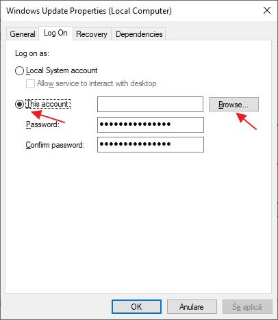 Selecteaza un cont pentru a rula Centrul de actualizare