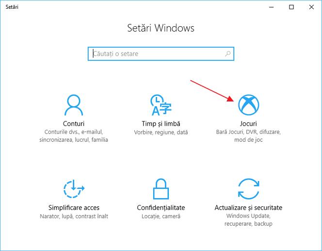 Mod de joc in Windows 10