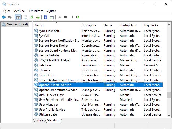 Serviciul de dezactivare a actualizarilor Windows 10