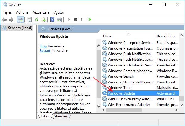 Serviciul centrului de actualizare Windows