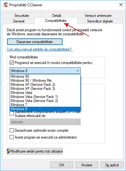 Mod compatibilitate Windows 10