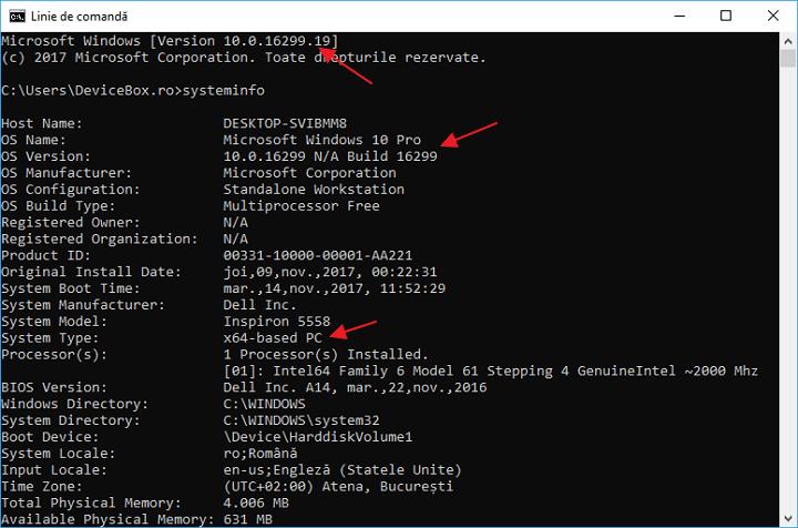 Cum pot afla versiunea si arhitectura Windows 10