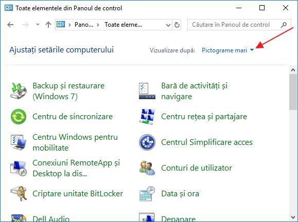 Cum se deschide panou de control Windows