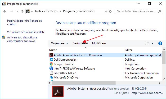 Cum se dezinstaleaza o aplicatie sau un program in Windows 10