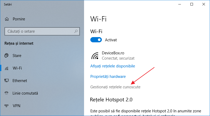 Cum uit reteaua Wi-Fi in Windows 10