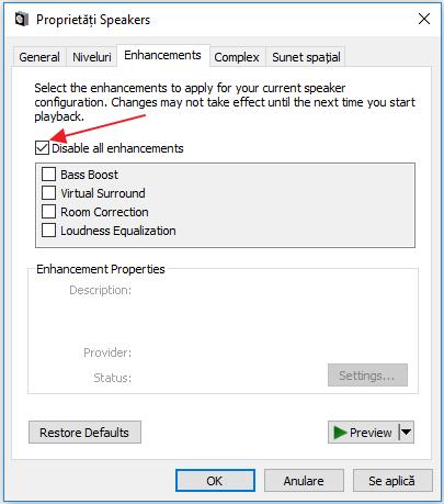A disparut sunetul in Windows 10