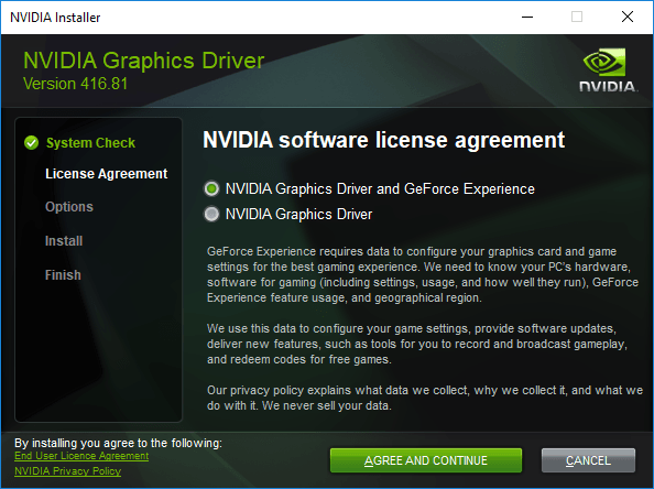 Instalarea driverului NVidia in Windows 10