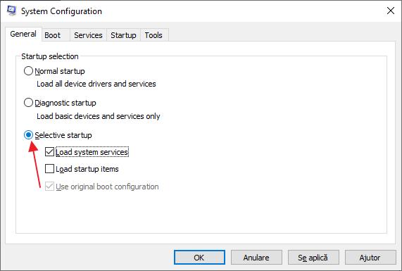 Pornire minimala Windows