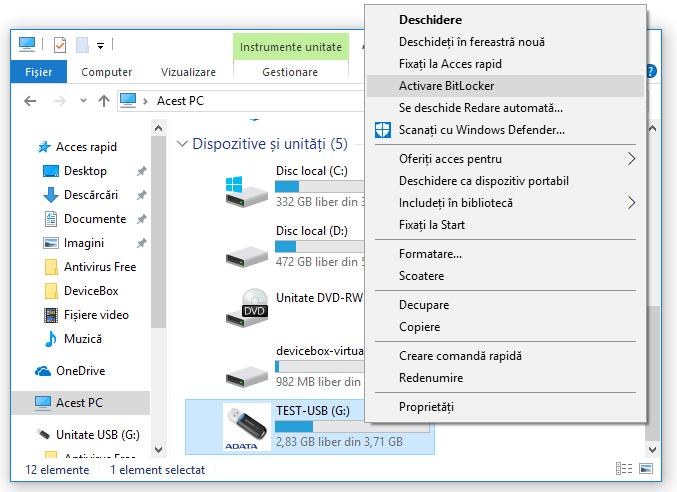 Cum pun parola pe stick USB si criptez continutul fara programe in Windows 10 si 8