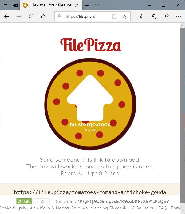 Trimiterea fisierelor in File Pizza