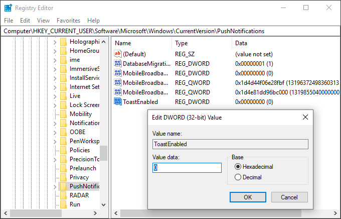 Dezactivarea notificarilor in editorul de registru