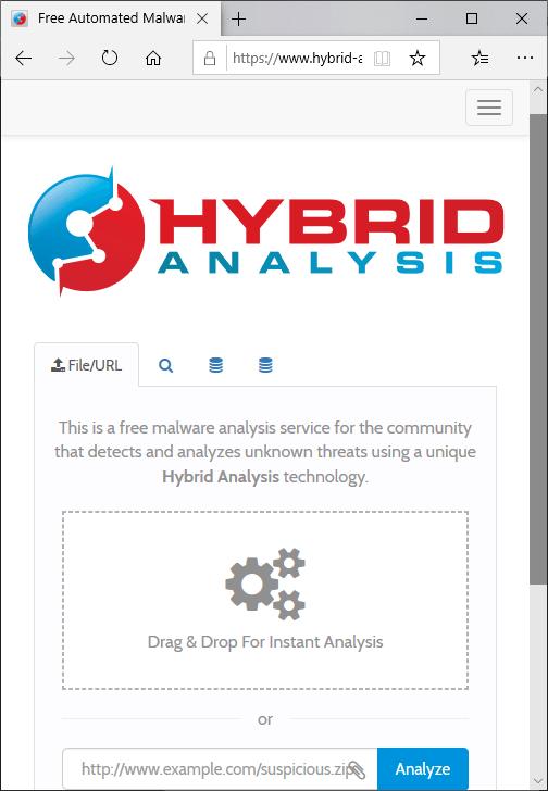 Pagina principala Hybrid Analysis