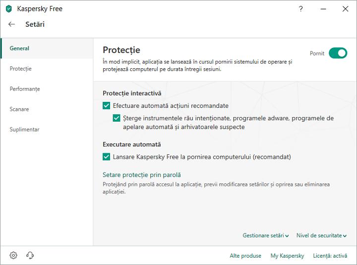 Setari antivirusului gratuit Kaspersky
