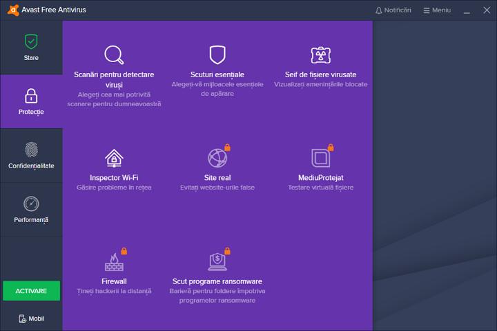 Instrumente de protectie in Avast Free Antivirus 2019
