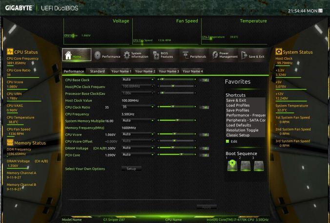 Ecranul setarilor BIOS