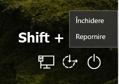 Intrarea in UEFI de pe ecranul de conectare in sistem