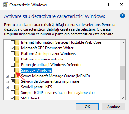 Dezactiveaza Sandbox Windows 10