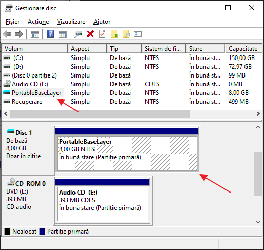 Disc PortableBaseLayer in Gestionare disc