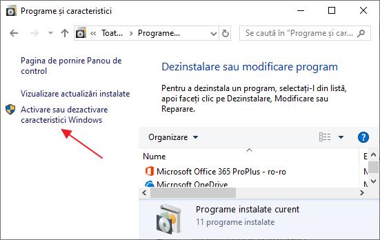 Dezactivarea componentelor Windows 10