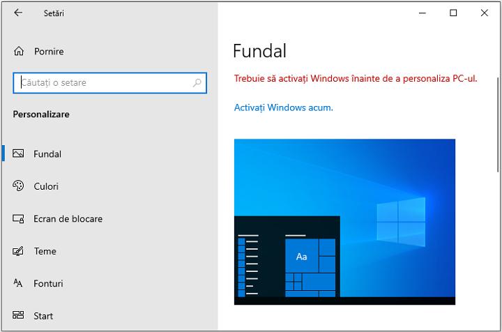 Setari de personalizare fara activare Windows 10
