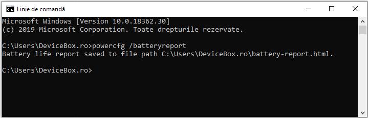 Comanda powercfg batteryreport