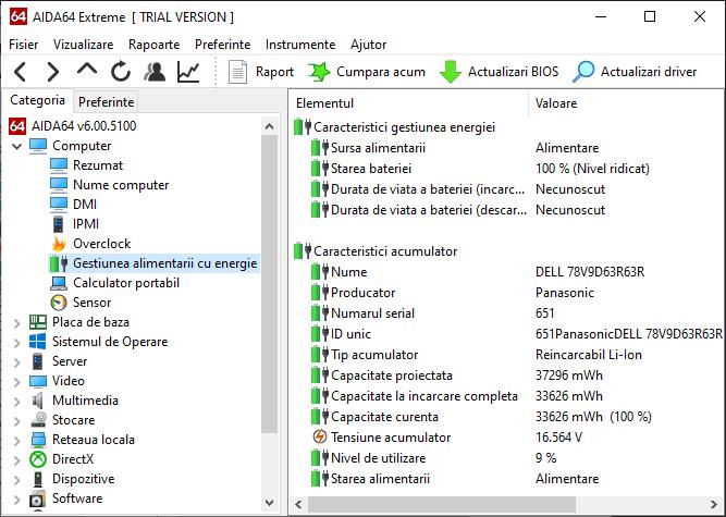 Informatii despre bateria laptopului in AIDA64