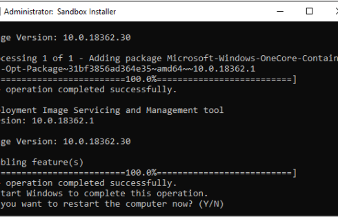 Instalarea Windows Sandbox in editia Home a sistemului