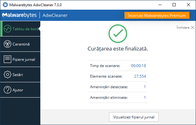 Curatarea AdwCleaner este finalizata