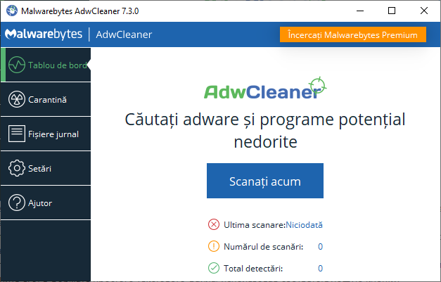 Fereastra principala programului AdwCleaner
