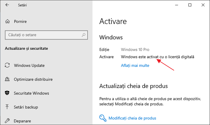 Windows 10 activat cu licenta digitala