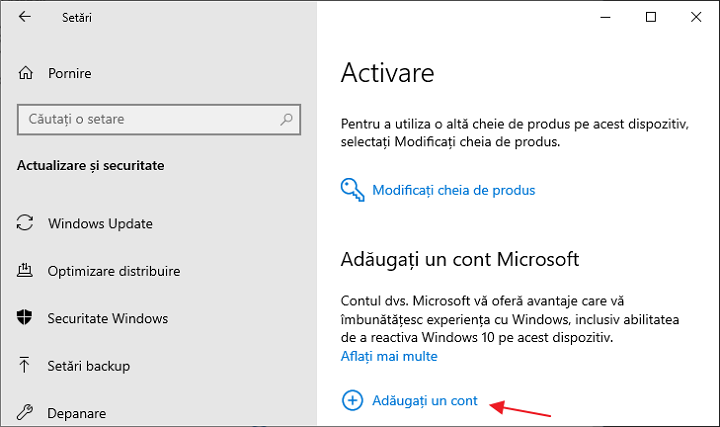 Legarea licentei Windows 10 la contul Microsoft