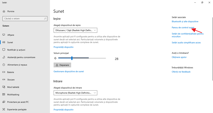 Dispozitive de redare si inregistrare in setari Windows 10