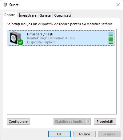 Lista dispozitivelor de redare si inregistrare Windows 10